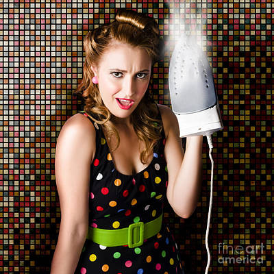 Funny Cute Cleaning Woman Ironing Retro Fashion Poster by Jorgo Photography - Wall Art Gallery