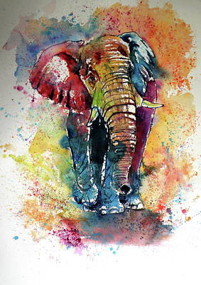 Poster featuring the painting Funny Elephant by Kovacs Anna Brigitta