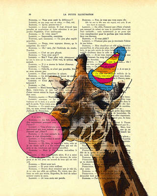 Funny Giraffe, Dictionary Art Poster by Madame Memento
