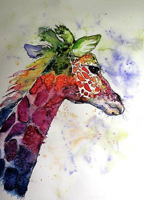 Poster featuring the painting Funny Giraffe by Kovacs Anna Brigitta