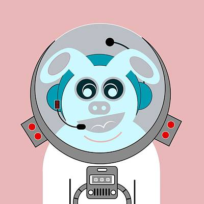 Funny Space Bunny Vector Art Poster by Andy Gimino