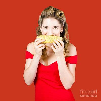 Funny Vegetable Woman With Corn Cob Smile Poster