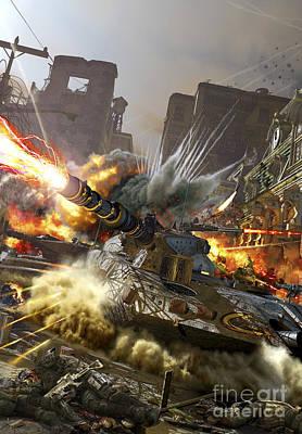 Futuristic Hover Tank Fighting Poster