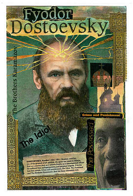 Poster featuring the mixed media Fyodor Dostoevsky by John Dyess