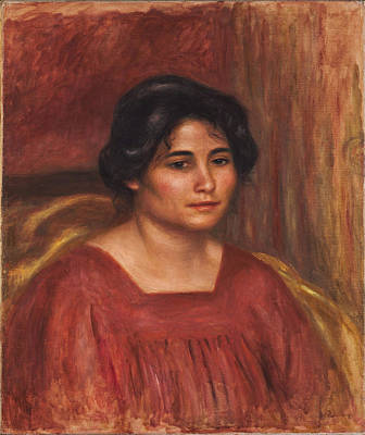 Gabrielle In A Red Dress 1908 Poster by Pierre Auguste Renoir