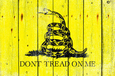 Gadsden Flag On Old Wood Planks Poster