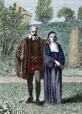 Galileo And His Daughter Maria Celeste Poster by Sheila Terry