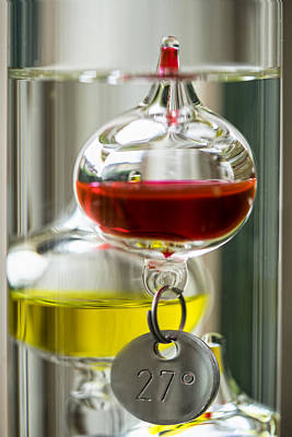 Poster featuring the photograph Galileo Thermometer by Jeremy Lavender Photography