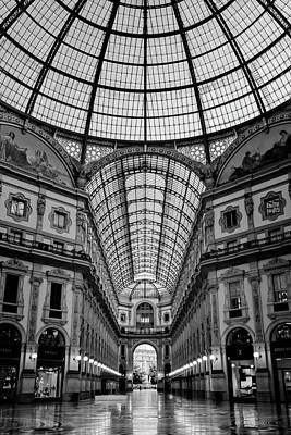 Galleria Milan Italy Bw Poster by Joan Carroll