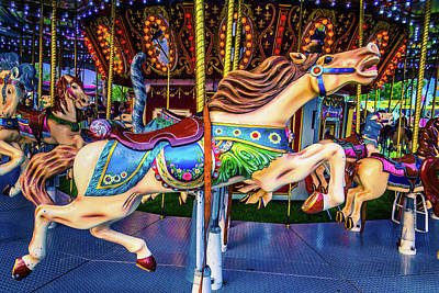 Galloping Carrousel Horse Poster