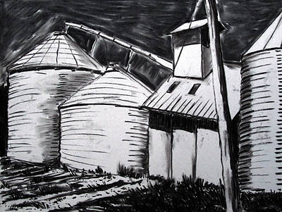 Galvanized Silos Waiting Poster by Charlie Spear