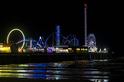 Galveston Island Historic Pleasure Pier At Night Poster