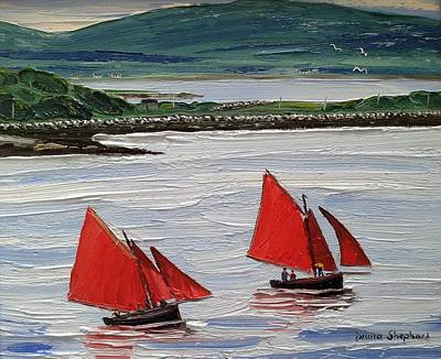 Galway Hookers Sailing By Roundstone Harbour Connemara Ireland Poster