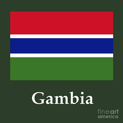 Gambia Flag And Name Poster by Frederick Holiday