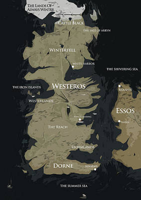 Game Of Thrones Map Poster by Semih Yurdabak