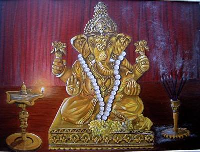 Ganesh Acrylic Painting Poster by MadhuRavi Paintings