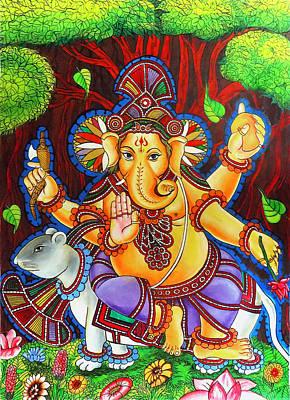 Ganesha Hindu Colored Mural Painting Poster by Arun Sivaprasad