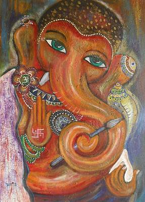 Poster featuring the painting Ganesha My Muse by Prerna Poojara