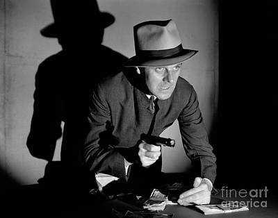 Gangster Stealing Money At Gunpoint Poster by H. Armstrong Roberts/ClassicStock