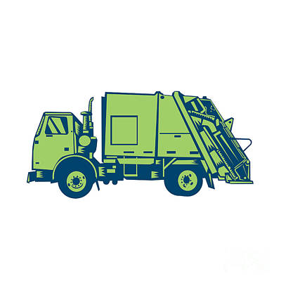 Garbage Truck Rear End Loader Side Woodcut Poster