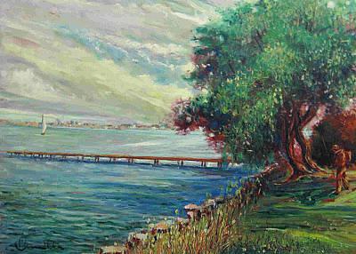 Poster featuring the painting Garda Lake -lago Garda by Walter Casaravilla