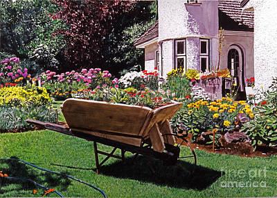 Garden At Patio Lane Poster by David Lloyd Glover