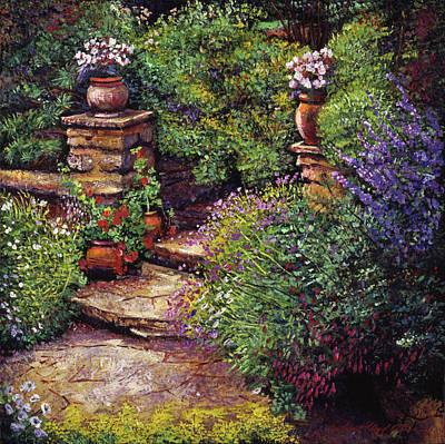 Garden At Villa Verona Poster by David Lloyd Glover