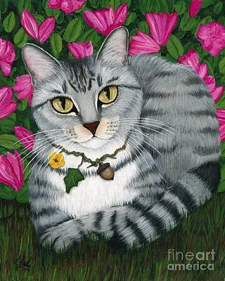 Poster featuring the painting Garden Cat - Silver Tabby Cat Azaleas by Carrie Hawks