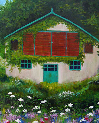 Garden Cottage Poster by Anne Marie Brown