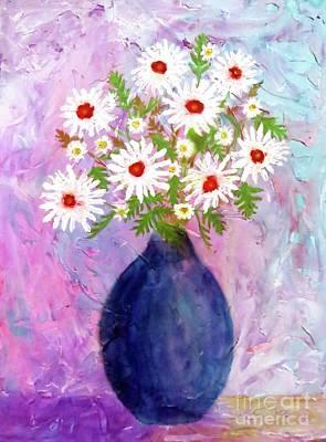Garden Daisies Cobalt Vase Poster by Desiree Paquette