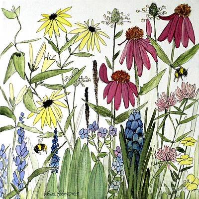 Garden Flowers With Bees Poster