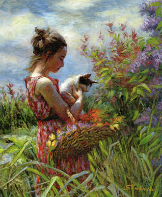 Poster featuring the painting Garden Gatherings by Steve Henderson