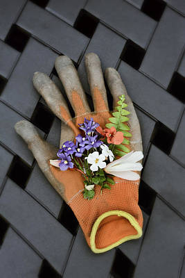 Garden Glove And Flower Blossoms3 Poster