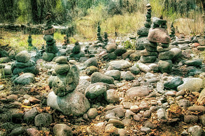 Garden Of Rock Cairns At Buddha Beach - Sedona Poster by Jennifer Rondinelli Reilly - Fine Art Photography