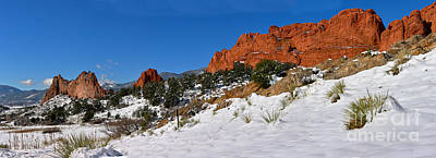 Poster featuring the photograph Garden Of The Gods Snowy Blue Sky Panorama by Adam Jewell