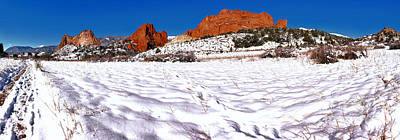 Poster featuring the photograph Garden Of The Gods Snowy Morning Panorama by Adam Jewell