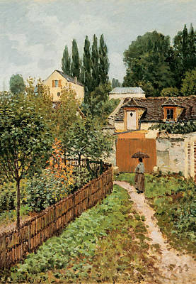 Garden Path In Louveciennes Poster by Alfred Sisley