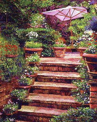 Garden Patio Stairway Poster by David Lloyd Glover
