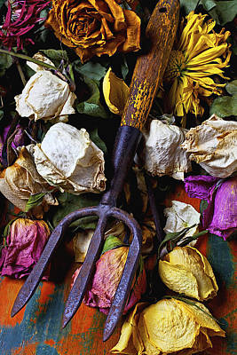 Garden Tool And Old Roses Poster by Garry Gay