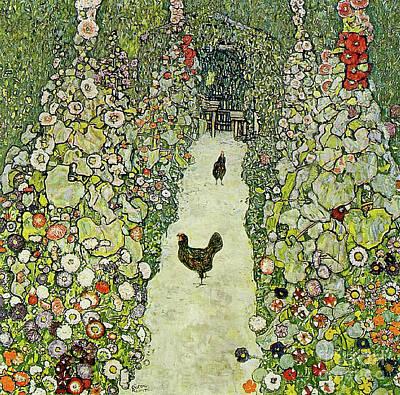 Garden With Chickens Poster by Gustav Klimt