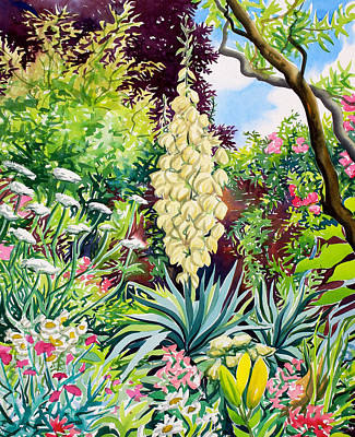 Garden With Flowering Yucca Poster by Christopher Ryland