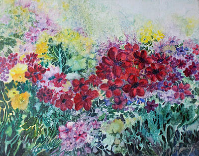 Poster featuring the painting Garden With Reds by Joanne Smoley