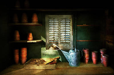 Poster featuring the photograph Gardener - The Potters Shed by Mike Savad