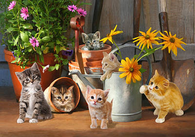 Poster featuring the digital art Gardening Kittens by Bob Nolin
