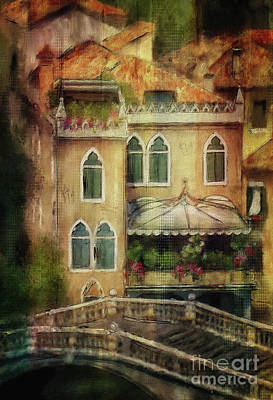 Poster featuring the digital art Gardening Venice Style by Lois Bryan