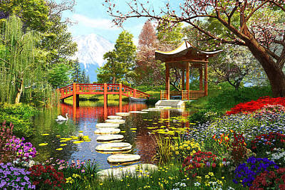 Gardens Of Fuji Poster by Dominic Davison