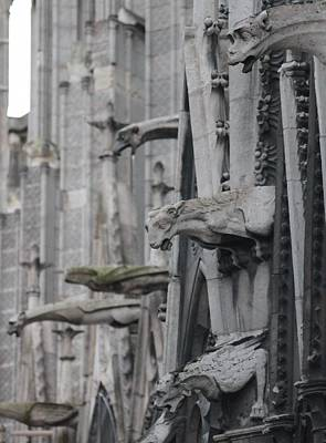 Poster featuring the photograph Gargoyles North Notre Dame by Christopher Kirby