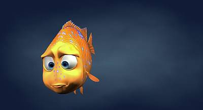 Garibaldi Fish In 3d Cartoon Poster by BaloOm Studios