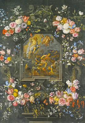 Garlands Of Flowers Poster by Jan Brueghel