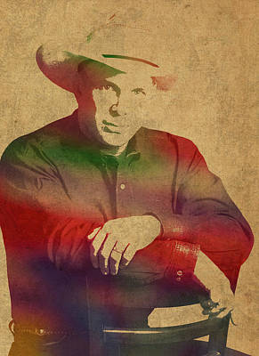 Garth Brooks Watercolor Portrait Poster by Design Turnpike